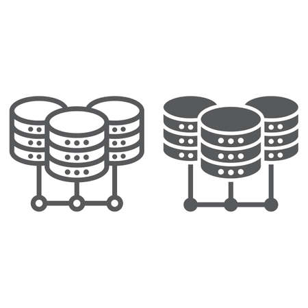 Data Center line and glyph icon, data and analytics, network hosting sign, vector graphics, a linear pattern on a white background, eps 10. Vecteurs