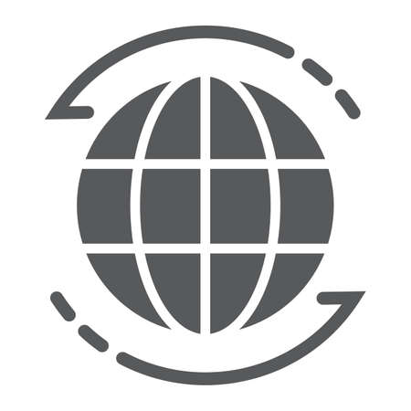 Worldwide glyph icon, globe and world, planet sign, vector graphics, a solid pattern on a white background