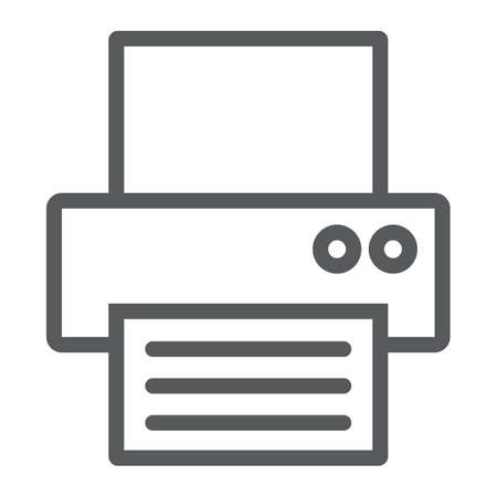 Fax line icon, office and document, printer sign, vector graphics, a linear pattern on a white background, eps 10.