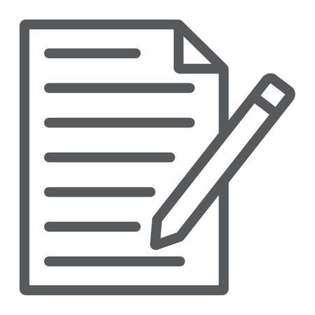 Ikona linii formularza kontaktowego, papier i długopis, pusty znak, grafika wektorowa, liniowy wzór na białym tle, eps 10