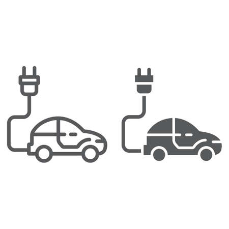 Electric car line and glyph icon, ecology car and energy, sustainable transport sign, vector graphics, a linear pattern on a white background, eps 10.
