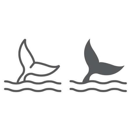 Linia ogona wieloryba i ikona glifów, wodnych i zwierząt, znak życia morskiego, grafika wektorowa, liniowy wzór na białym tle, eps 10