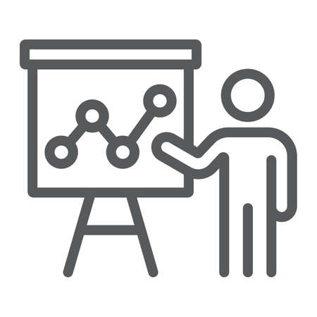 Presentation line icon, education and seminar, teacher sign, vector graphics, a linear pattern on a white background, eps 10.