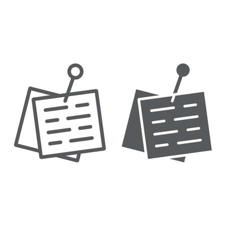 Ligne de papier épinglé et icône de glyphe, bureau et travail, signe de pense-bête, graphiques vectoriels, un dessin linéaire sur un fond blanc, eps 10.