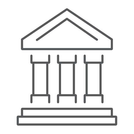 Bank building thin line icon, finance and banking, bank sign, vector graphics, a linear pattern on a white background, eps 10. Illustration
