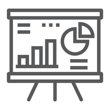 Icona della linea di analisi finanziaria, finanza e banche, segno di diagramma, grafica vettoriale, un modello lineare su sfondo bianco, eps 10. Vettoriali