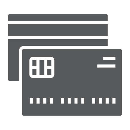 Credit card glyph icon, finance and banking, card sign, vector graphics, a solid pattern on a white background, eps 10.