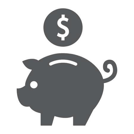 Glyphensymbol, Finanz- und Bankwesen, Sparschweinzeichen, Vektorgrafiken, ein festes Muster auf weißem Hintergrund, eps 10. Vektorgrafik