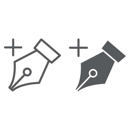 Add anchor line and glyph icon, tools and design, pen sign, vector graphics, a linear pattern on a white background, eps 10.