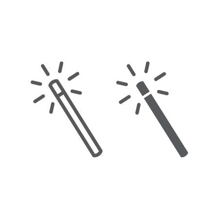 Magic wand line and glyph icon, tools and design, wand sign, vector graphics, a linear pattern on a white background, eps 10. Stock Illustratie