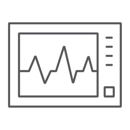 Ecg machine thin line icon, medicine and cardiology, heartbeat rate sign, vector graphics, a linear pattern on a white background, eps 10.