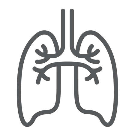 Lungs line icon, anatomy and biology, pulmonology sign, vector graphics, a linear pattern on a white background, eps 10.