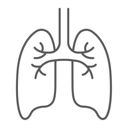 Icône de fine ligne de poumons, anatomie et biologie, signe de pneumologie, graphiques vectoriels, un dessin linéaire sur un fond blanc, eps 10. Vecteurs
