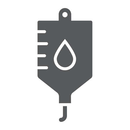 Blood bag glyph icon, hospital and medicine, iv bag sign, vector graphics, a solid pattern on a white background, eps 10. Illustration