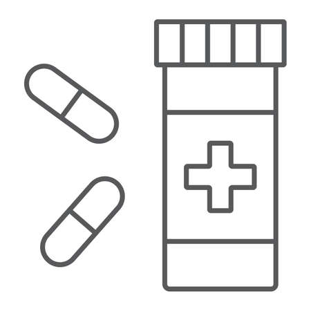 Pills thin line icon, pharmacy and medicine