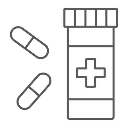 Pills thin line icon, pharmacy and medicine