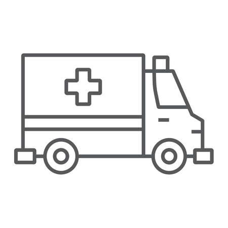 Ambulance thin line icon, emergency and hospital