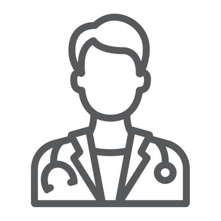 Doctor line icon, medicine and hospital