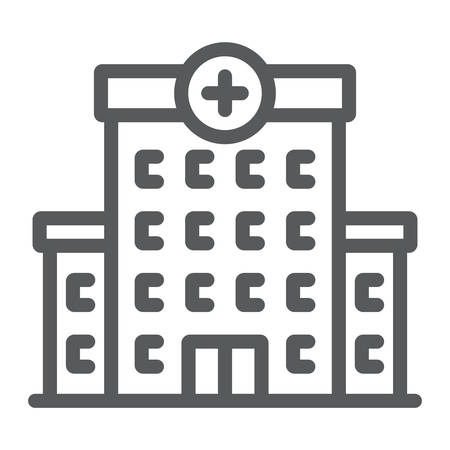 Hospital line icon, architecture and building Illustration