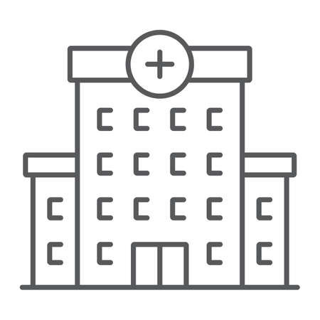 Hospital thin line icon, architecture and building