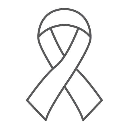 Hiv ribbon thin line icon, health and aid, awareness ribbon sign, vector graphics, a linear pattern on a white background, eps 10.