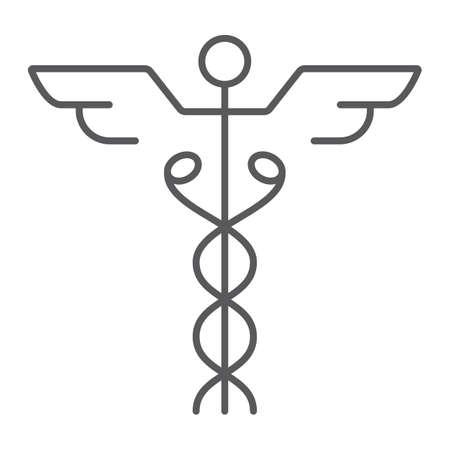Caduceus thin line icon, medical and hospital Zdjęcie Seryjne