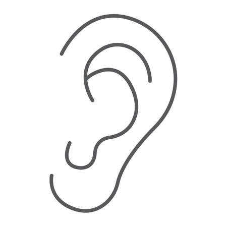 Human ear thin line icon, anatomy and biology