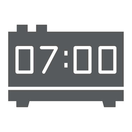 Digital clock thin line icon, electronic and digital, alarm sign, vector graphics, a linear pattern on a white background, eps 10. 写真素材 - 111953764