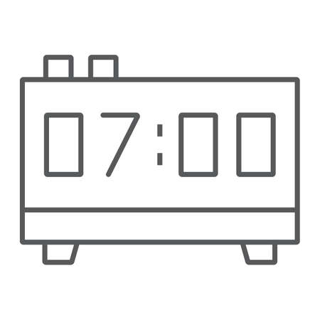 Digital clock thin line icon, electronic and digital, alarm sign, vector graphics, a linear pattern on a white background, eps 10.