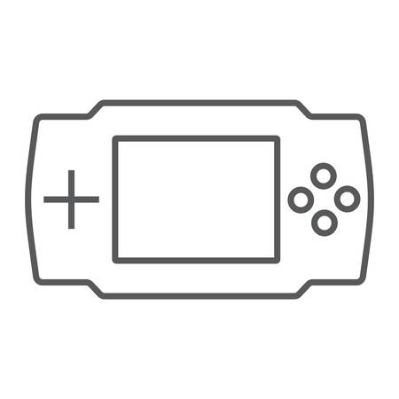 Game console thin line icon, electronic and device, gaming sign, vector graphics, a linear pattern on a white background, eps 10. Иллюстрация