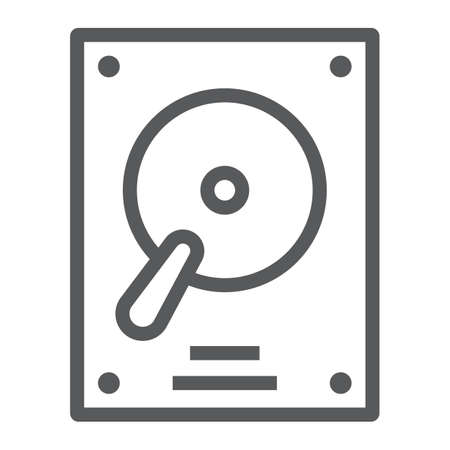Hard disk line icon, electronic and device, hdd sign, vector graphics, a linear pattern on a white background, eps 10. 矢量图片