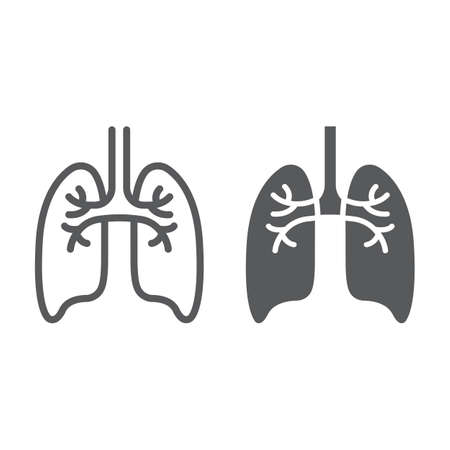 Lungs line and glyph icon, anatomy and biology, pulmonology sign, vector graphics, a linear pattern on a white background, eps 10. Illustration