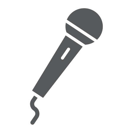 Microphone glyph icon, electronic and device, mic sign, vector graphics, a solid pattern on a white background, eps 10. 向量圖像