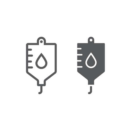 Blood bag line and glyph icon, hospital and medicine, iv bag sign, vector graphics, a linear pattern on a white background, eps 10. Illustration