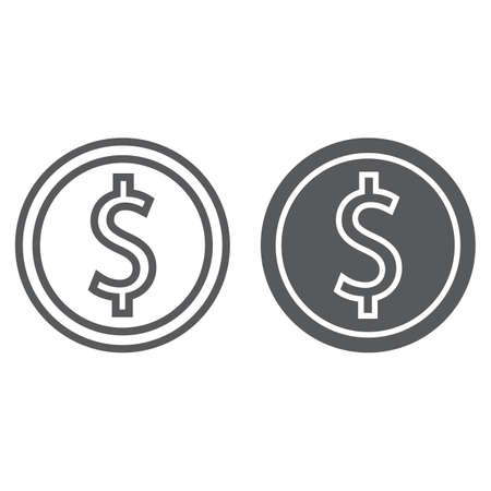Dollar coin line and glyph icon, finance and banking, currency sign, vector graphics, a linear pattern on a white background, eps 10.  イラスト・ベクター素材