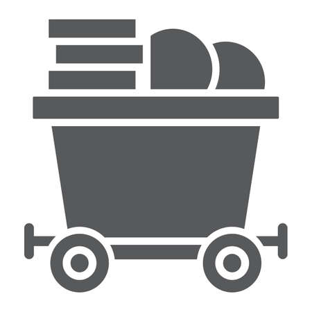 Coins on mine trolley glyph icon, finance and money, bitcoin mining trolley sign, vector graphics, a solid pattern on a white background, eps 10.  イラスト・ベクター素材