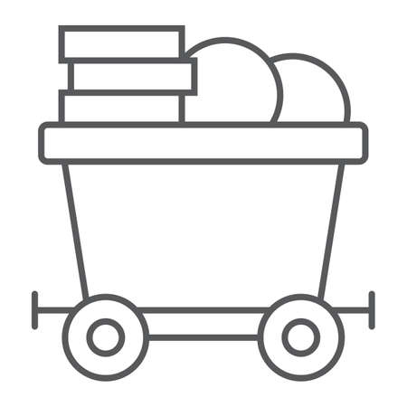 Coins on mine trolley thin line icon, finance and money, bitcoin mining trolley sign, vector graphics, a linear pattern on a white background, eps 10.