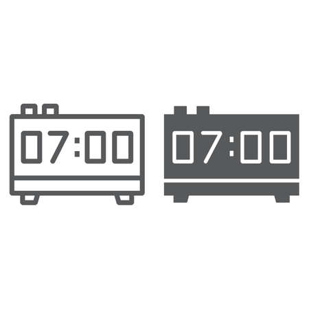 Digital clock line and glyph icon, electronic and digital, alarm sign, vector graphics, a linear pattern on a white background, eps 10.