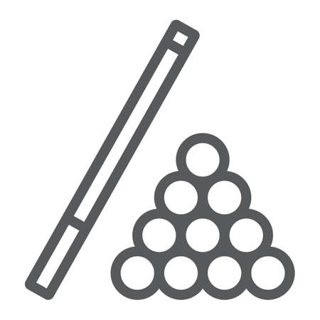 Billiard line icon, game and sport, pool sign, vector graphics, a linear pattern on a white background, eps 10.