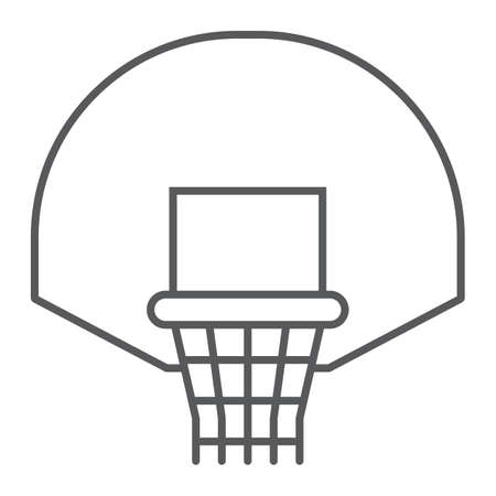 Basketball hoop thin line icon, game and sport, basket sign, vector graphics, a linear pattern on a white background, eps 10.