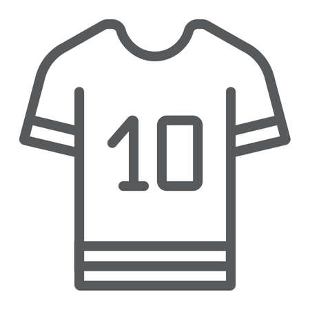 Sport t shirt line icon, clothes and sport, t shirt sign, vector graphics, a linear pattern on a white background, eps 10. Vettoriali