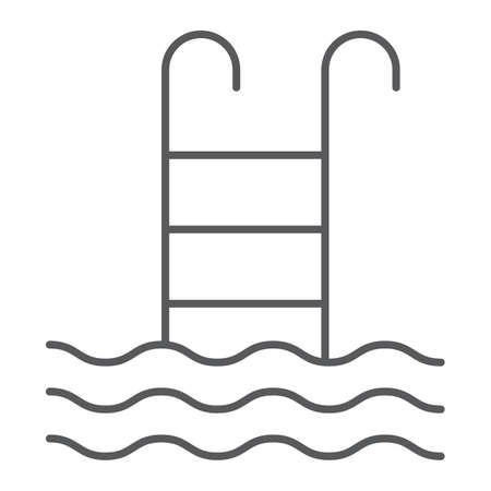 Swimming pool thin line icon, water and sport, ladder sign, vector graphics, a linear pattern on a white background, eps 10. Illusztráció