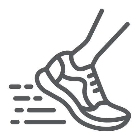 Running fast line icon, footwear and sport, sport shoes sign, vector graphics, a linear pattern on a white background, eps 10.
