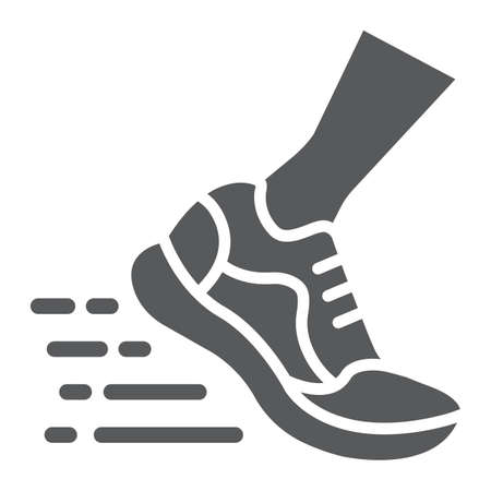 Running fast glyph icon, footwear and sport, sport shoes sign, vector graphics, a solid pattern on a white background, eps 10.