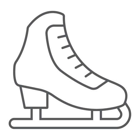Figure skating thin line icon, activity and sport, ice skating sign, vector graphics, a linear pattern on a white background, eps 10.