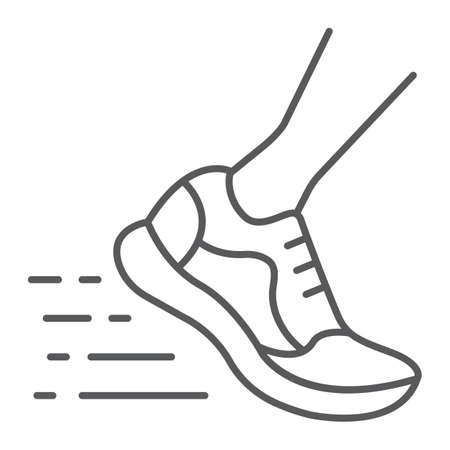 Correr icono de línea fina rápida, calzado y deporte, signo de calzado deportivo, gráficos vectoriales, un patrón lineal sobre un fondo blanco, eps 10.
