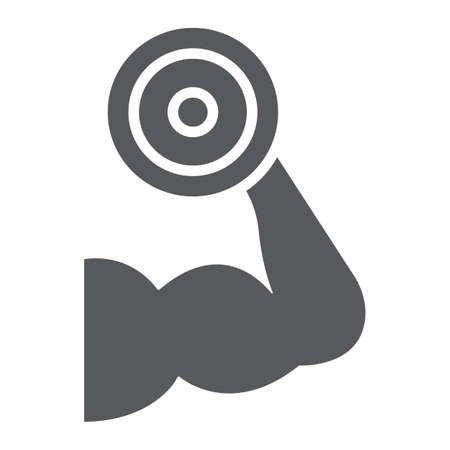 Muscle growth training glyph icon