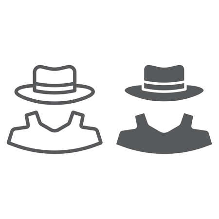 Anonymity line and glyph icon, detective and private, agent sign, vector graphics, a linear pattern on a white background, eps 10.