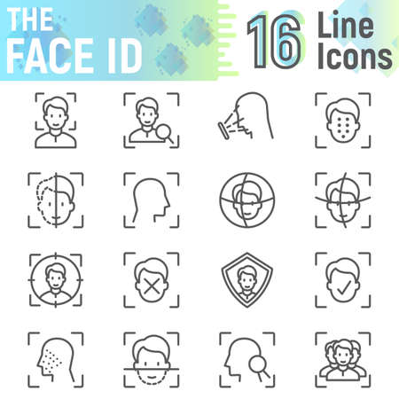 Face ID line icon set, face recognition symbols collection, vector sketches, logo illustrations, face scan signs linear pictograms package isolated on white background, eps 10.