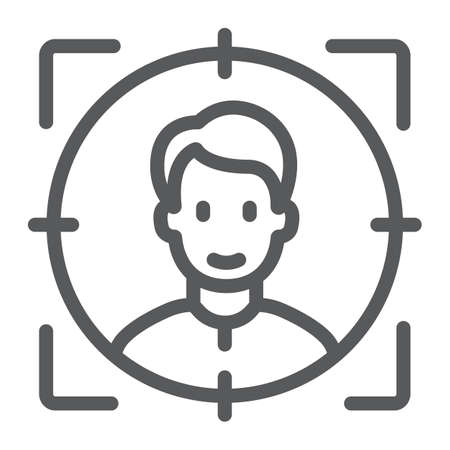 Face ID line icon, face recognition and face identification, face scanning sign, vector graphics, a linear pattern on a white background, eps 10. Illustration